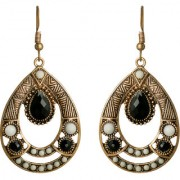 Spargz Gold Plated Black Synthetics Stones Oval Shape Outfits Bohemian Earrings For Women AIER 1085