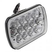 ELECTROPRIME® 8X6Inch Hi Lo Beam LED Headlight White Housing for Jeep JK TJ Wrangler