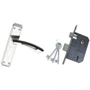 ATOM O-104 Door Handle Set with Legend Double Action Lock with 3 Keys Woodan Finish