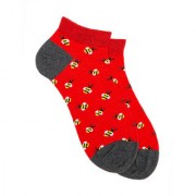 Soxytoes Bumblebbee Red Cotton Ankle Length Pack of 1 Pair Animal Print Unisex Casual Socks (STS0188A)