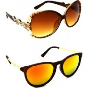 Hrinkar Over-sized Sunglasses(Brown, Golden)