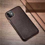 XOOMZ Litchi Grain Genuine Leather Phone Case for iPhone 11 6.1 inch (2019) - Coffee