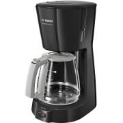 Cafetiera Bosch TKA3A033, 1100 W, 1,25 L/10 cesti, Cană sticlă, Sistem antipicurare, Deconectare automata, Sistem SafeStorage, Suport filtru, Negru