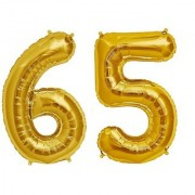 De-Ultimate Solid Golden Color 2 Digit Number (65) 3d Foil Balloon for Birthday Celebration Anniversary Parties