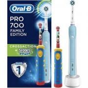 Комплект четки за зъби Oral-B Pro 700 + Детска четка за зъби Advance Power Kids 950