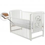BabyNeeds Patut din lemn Timmi 120x60 cm cu laterala culisanta Alb cu Saltea 10 cm