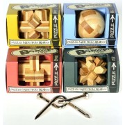Mini Bamboozlers Wood Take-Apart Puzzles _ Bundle of 4 Unique Puzzles_Plus Bonus Bent Nails Puzzle