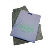 Best Summer pánské pyžamo - krátké AK8366 L světle šedá