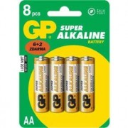 baterie GP SUPER AA Alkalické 1.5.V 6 plus 2 ks B13218