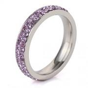 Lila kristályos, 2 soros nemesacél gyűrű