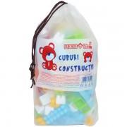 Cuburi colorate din plastic pentru construit 160 piese, in saculet