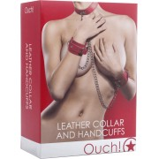 Set collare e manette Ouch! Leather Collar and Handcuffs Rosso