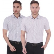 Dudlind Set of 2 Mens Formal Half Sleeves Checks Shirt Regular Fit | Combo of 2 Mens Shirts for Office and Business
