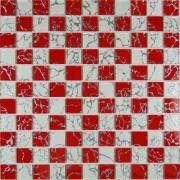 Maxwhite JSM-JL042 Mozaika skleněná šachovnice bílá červená 29,7x29,7cm sklo