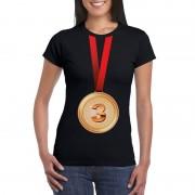 Bellatio Decorations Bronzen medaille kampioen shirt zwart dames