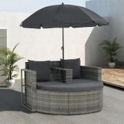 vidaXL 2-местен градински диван с възглавници и чадър, сив, полиратан