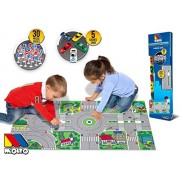 Molto Kids Mini-City Traffic Playmat with 24 Traffic Signs and Five Die-Cast Cars