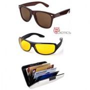 Ediotics Classic Brown Wayfarer & Yellow Night Driving Sunglasses & Alumi Wallet Combo