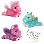 J4U Jellyroll Unicorn, Sprinkles Dragon, and Tutti Frutti Pegasus Bright Fancies Plush Beanbag Animals Set with Gift Tag