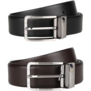 Tommy Hilfiger Men Formal Black, Brown Genuine Leather Reversible Belt