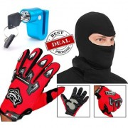 Knighthood Combo of Full Finger Gloves Red Biker Face Mask Disk Break Lock