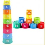 Alcoa Prime Plastic Letters Numbers Stack Up Cups Children Stacking Folding Bathing Toys