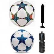 Kit of Bluestar UEFA Champions League Football + Multistar UEFA Champions League Football (Size-5) - Pack of 2 Balls with Air Pump & Sipper