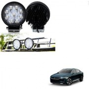 Auto Addict DEVICE 4 inch 9 LED 27Watt Round Fog Light with Flood Beam Auxiliary Lamp Set Of 2 Pcs For Tata Evision