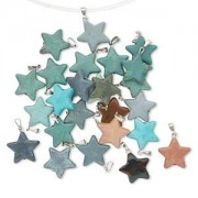 Pendant Mix, Multi-gemstone and Silver-finished Steel, Mixed Colors Star Pendents 35 Pieces!