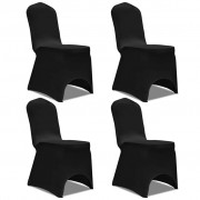 vidaXL Capa extensível para cadeira 4 pcs preto