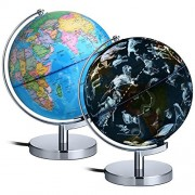 """Geographic Globes Night Lights, 8"""" Illuminated World Globe For Kids- 2 in 1 Globe with Plug, World Globe Constellations Globe Built-in LED Bulb Educational Gift Night Stand Decor"""