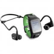 TomTom Runner 3 Cardio Music and Bluetooth Headphone Large Strap - GPS смарт часовник с вграден музикален плейър и безжични спортни слушалки (черен-зелен)