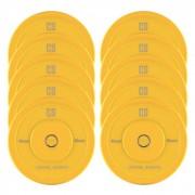 Nipton Conjunto Completo Placas de Peso Borracha 5 Pares de 15 kg Cada Amarelo