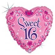 Merkloos Kado ballon met helium Happy Birthday sweet 16 46 cm