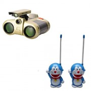 combo of Binocular With Night Vision and blue Walkie Talkie set for kids