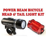 Gadget Hero's Power Beam LED Head Tail Light Kit For Bike Bicycle Cycle Torch Headlight Lamp. 5 LED Head Light with 2 Modes + 6 LED Rear Light with 6 Modes