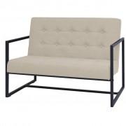 vidaXL Canapea cu 2 locuri și brațe, oțel și material textil, crem