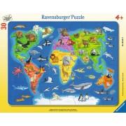 Puzzle Ravensburger - Harta Lumii Cu Animale, 30 Piese