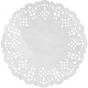30x Witte ronde placemats 35 cm papier met kanten uiterlijk - Wegwerp papieren placemats - Witte tafeldecoraties - Wit thema