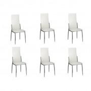 vidaXL Šesť jedálenských stoličiek z chrómu a bielej kože