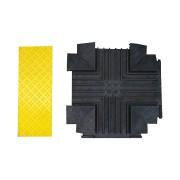 """Černo-žlutý plastový kabelový most """"křižovatka"""" s víkem - délka 80 cm, šířka 80 cm a výška 6 cm"""