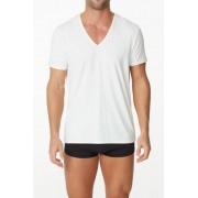 Parker & Max Micro Luxe Deep V Neck Short Sleeved T Shirt White PMFP-TDVN1