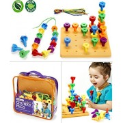 Peg Board Game Set - 60 Chunky Pegs W/ Board & Storage Bag W/ Handle Easy to Carry. for Motor Skills Sorting Counting Color Recognition Occupational Therapy Toddler and Preschool, by Twinkle Me
