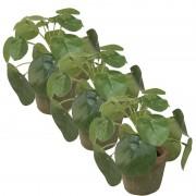 Bellatio flowers & plants 3x Groene kunstplanten pilea plant in pot 13 cm Groen