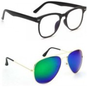 Sulit Aviator, Round, Wayfarer, Retro Square Sunglasses(Clear, Green)
