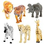 C2K Lot 6 Plastic Wild Animals Zoo Safari Figure Model Zebra Lion Tiger Elephant