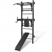 vidaXL fekete, falra szerelhető, többfunkciós edzőtorony