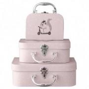 Set 3 valize pentru jucarii Roz