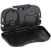 Bluwings Food and Bottle Tray Cup Holder Car Tray Table Travel Organizer (Black)(Black)