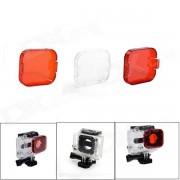 Buceo profesional carcasa naranjas / rojos / blancos filtros para GoPro Hero 3